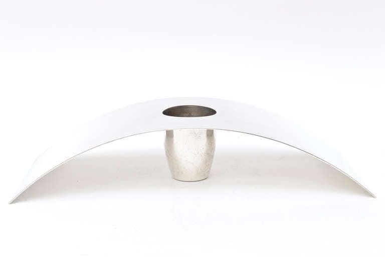 Italian Lino Sabattini Cormorana Silver Plate Sculptural Modernist Vase or Candlestick For Sale