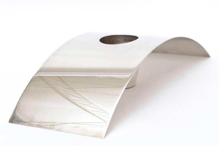 Lino Sabattini Cormorana Silver Plate Sculptural Modernist Vase or Candlestick In Good Condition For Sale In North Miami, FL