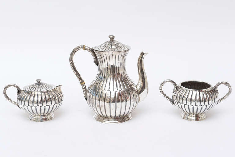 Mexican Sterling Silver Sanborn Tea and Coffee Service Mid-Century Modern For Sale