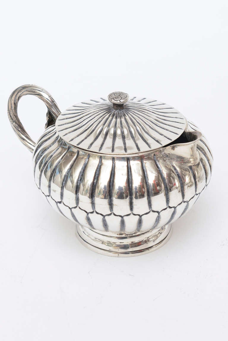 Sterling Silver Sanborn Tea and Coffee Service Mid-Century Modern For Sale 3