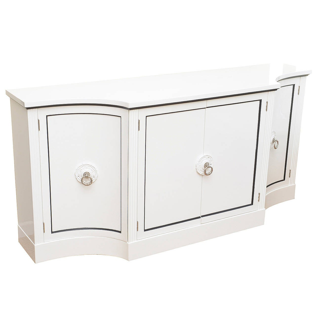 Grosfeld House Hollywood White Lacquered and Nickel Silver Cabinet ...