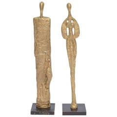 French Giacometti Style Male and Female Heavy Molten Bronze Table Sculptures