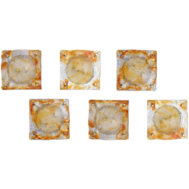 Set of Six Italian Murano Mazzega Sculptural Glass Wall Sconces