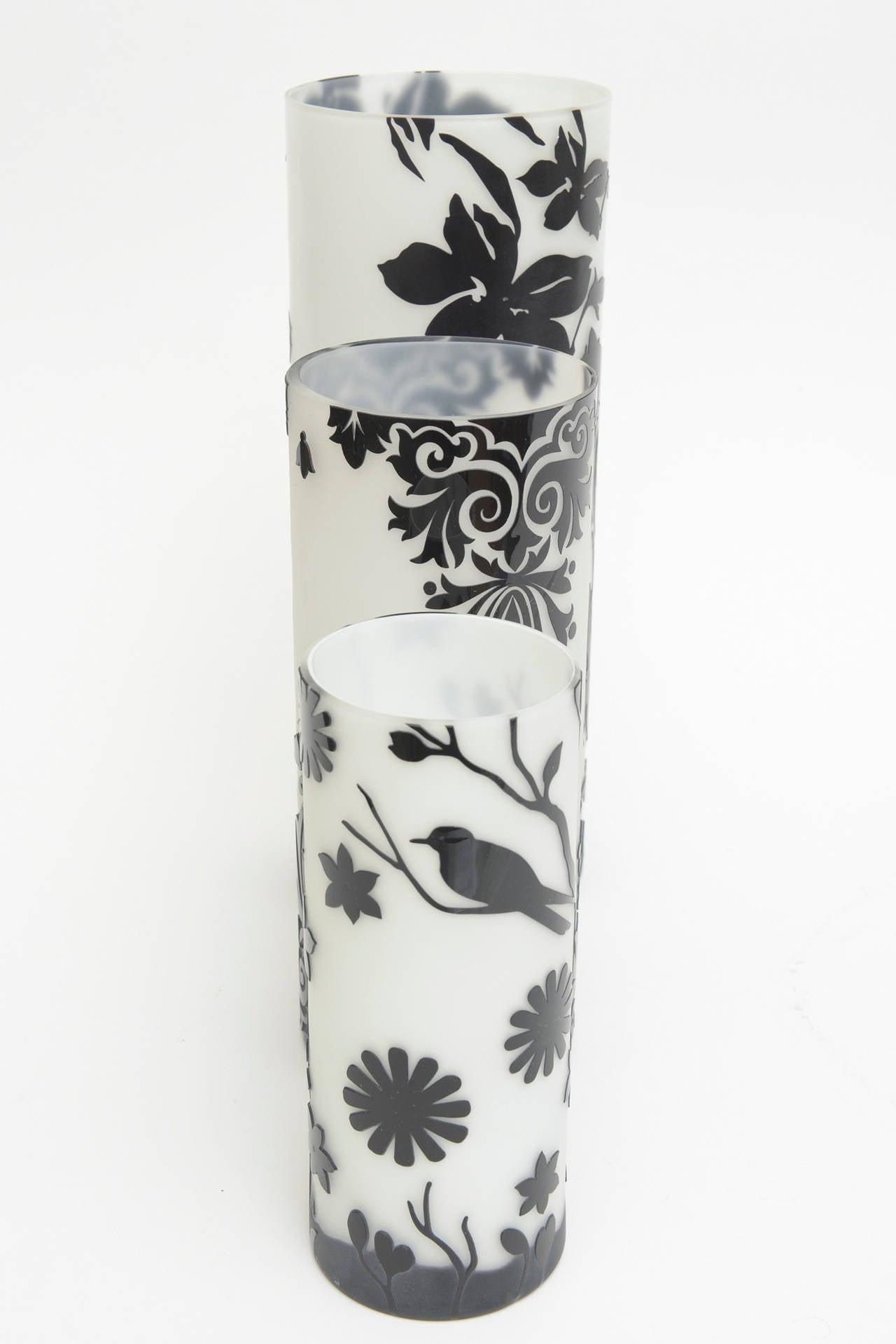 three beautiful dramatic cameo glass black and white graduated  - three beautiful dramatic cameo glass black and white graduated vases