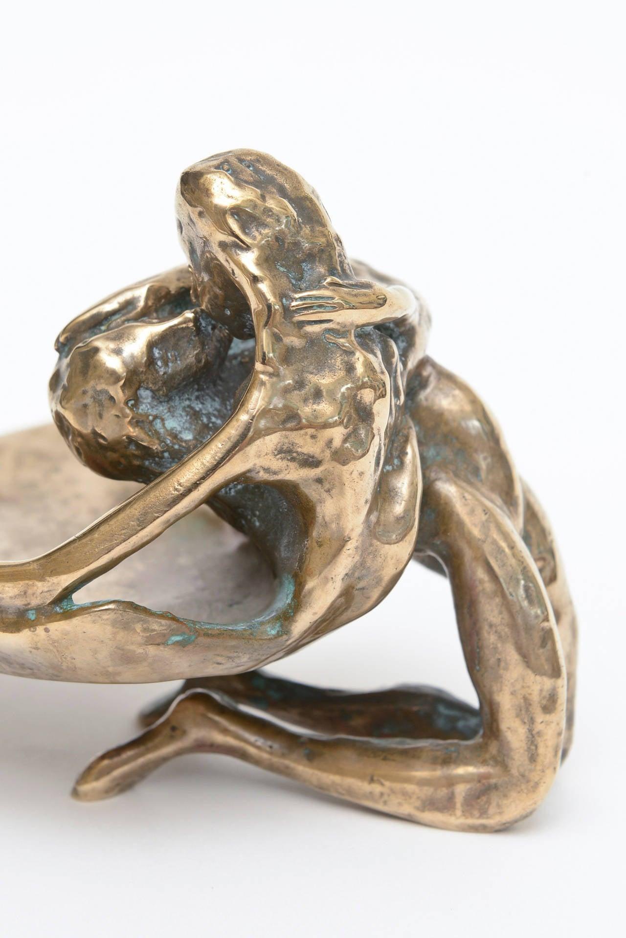 Modern Bronze Victor Zaikine Sculpture Titled Lovers Embrace For Sale