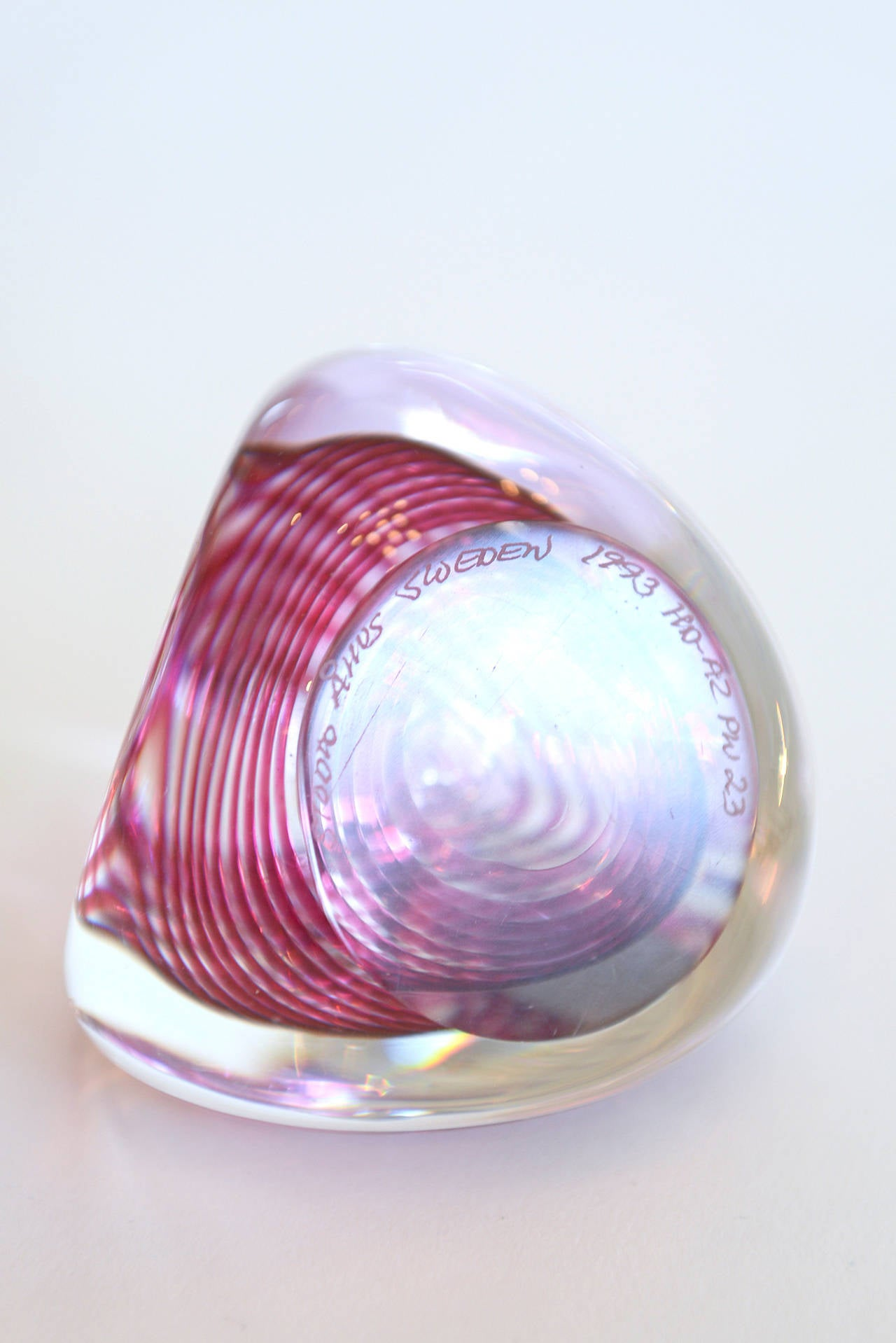 Optical Swedish Glass Paperweight or Object Signed Desk Accessory For Sale 1