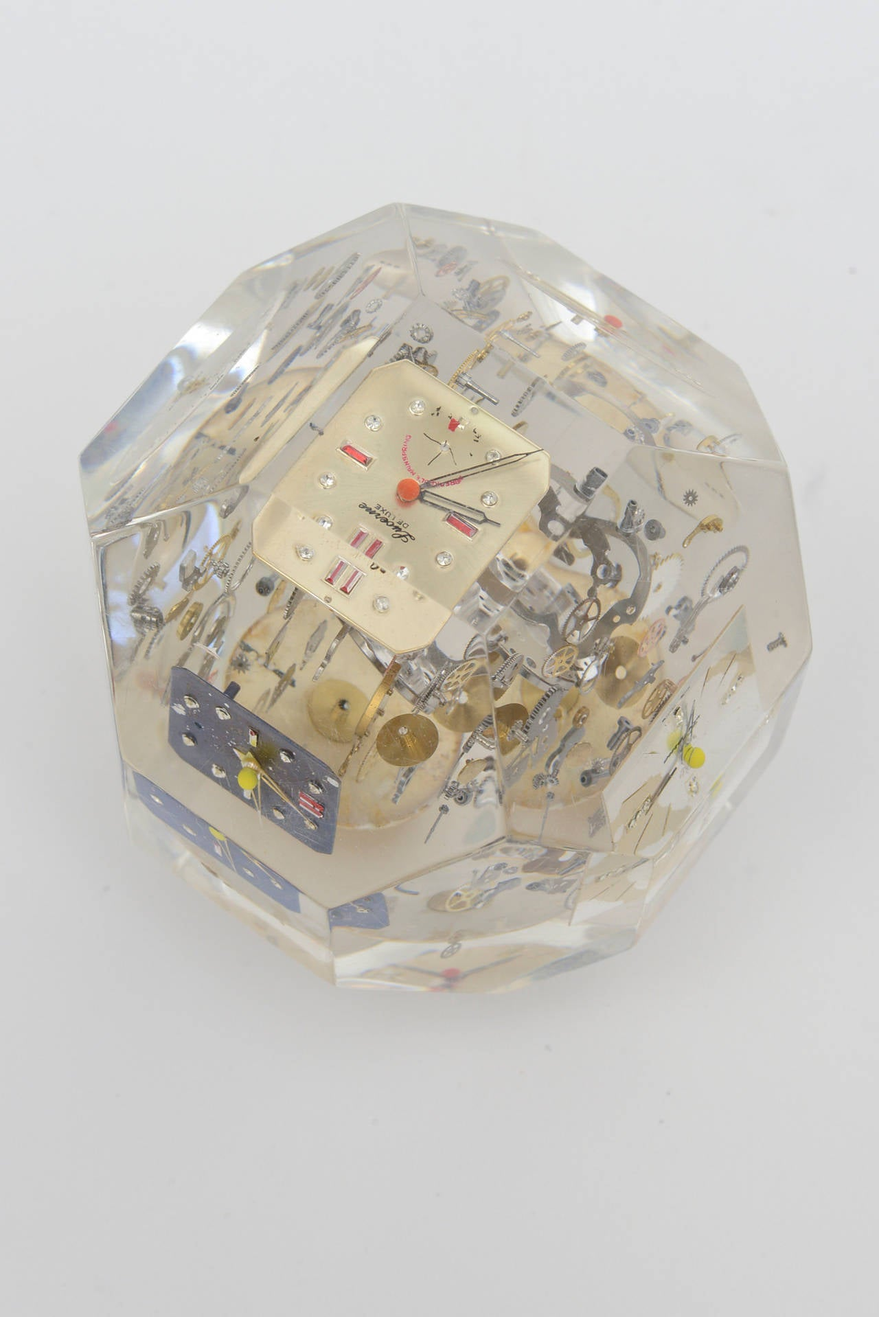 Arman Style Clock And Watch Parts Lucite Faceted