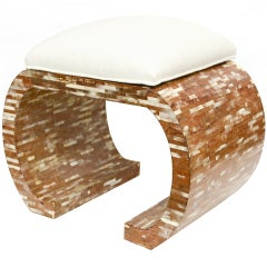 Unusual Custom Tessilated Steerhorn Bench/Stool/Ottoman/SAT.SALE