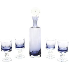 Italian Murano Sommerso Glass Decanter Set with 4 Glasses