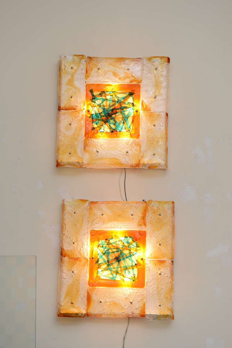 Pair of Rare Mazzega Murano Glass Wall Sconces Vintage For Sale 2