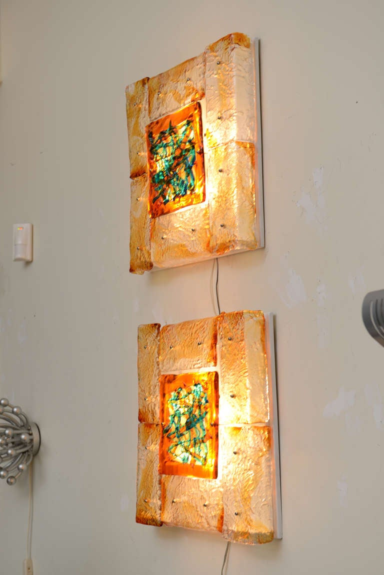 Pair of Rare Mazzega Murano Glass Wall Sconces Vintage For Sale 3