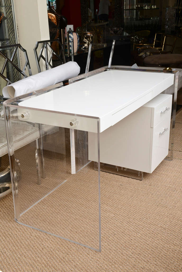The Rounded Radius Corners Of This Wonderful 2 Part Lucite Desk Floats There