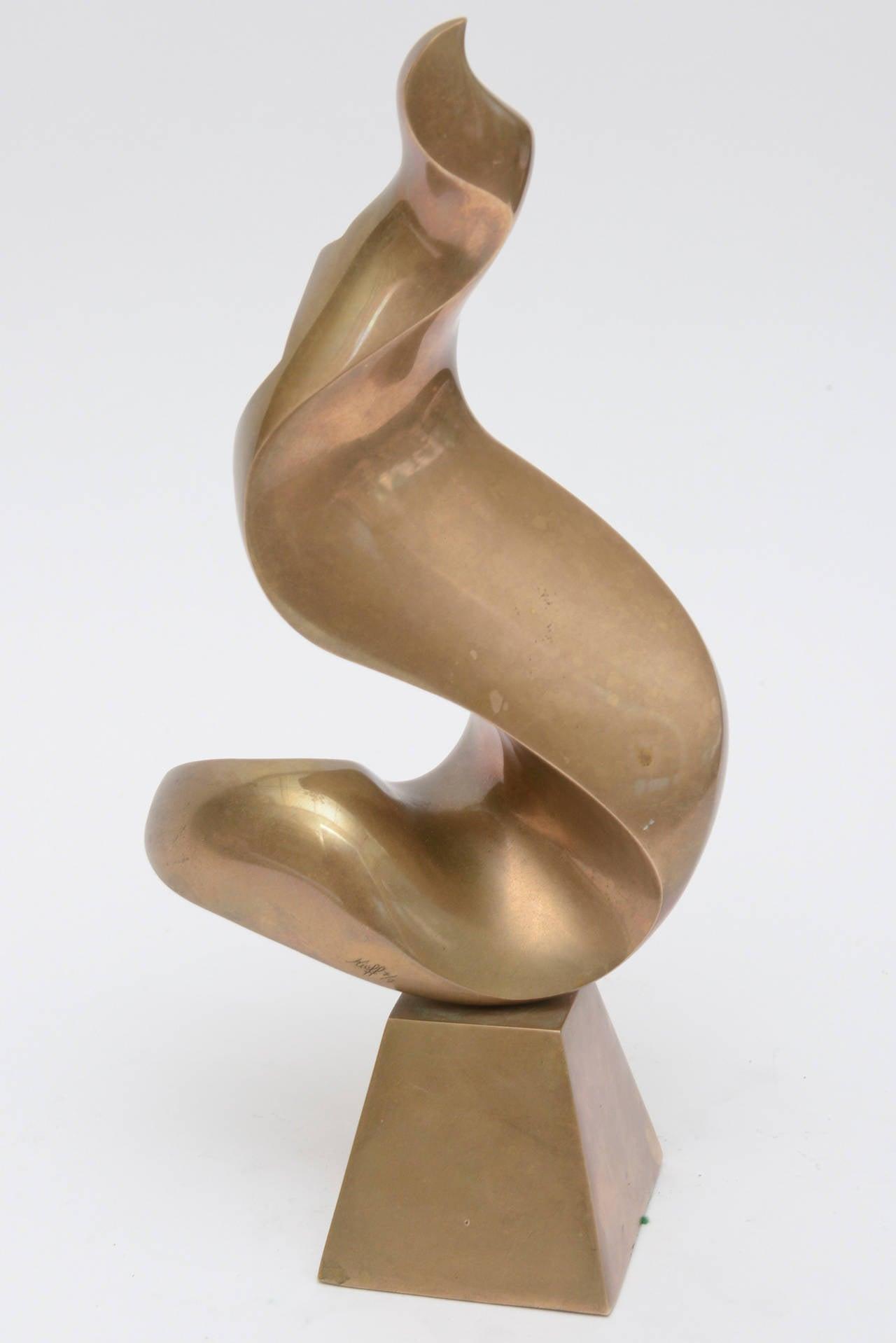 Antonio Grediaga Kieff Bronze Abstract Sculpture Vintage In Good Condition For Sale In North Miami, FL