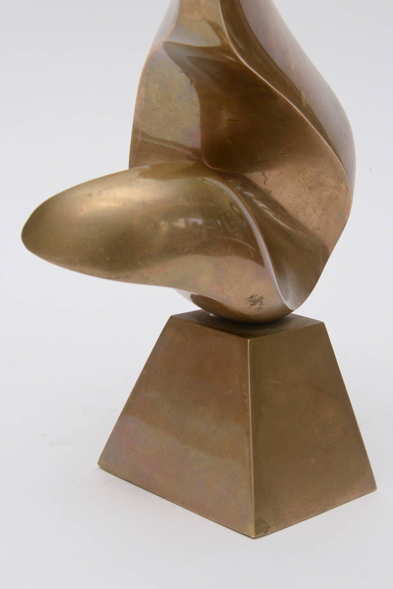 Antonio Grediaga Kieff Bronze Abstract Sculpture Vintage For Sale 1