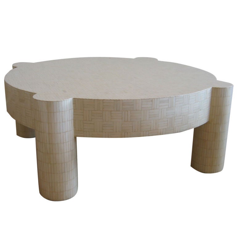 inlaid bone cocktail table with column legs at 1stdibs. Black Bedroom Furniture Sets. Home Design Ideas