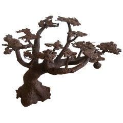 Fabulous Iron Bonsai Tree with Hanging Birds Nest