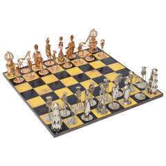 Custom hand wrought enamel copper and chrome checkerboard chess set sat sale - Karim rashid chess set ...