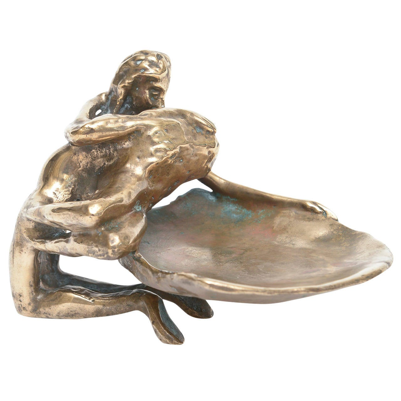 Bronze Erotic Lovers Embrace Sculpture