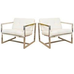 Pair of Architectural Milo Baughman Style Chrome and Upholstered  Lounge Chairs
