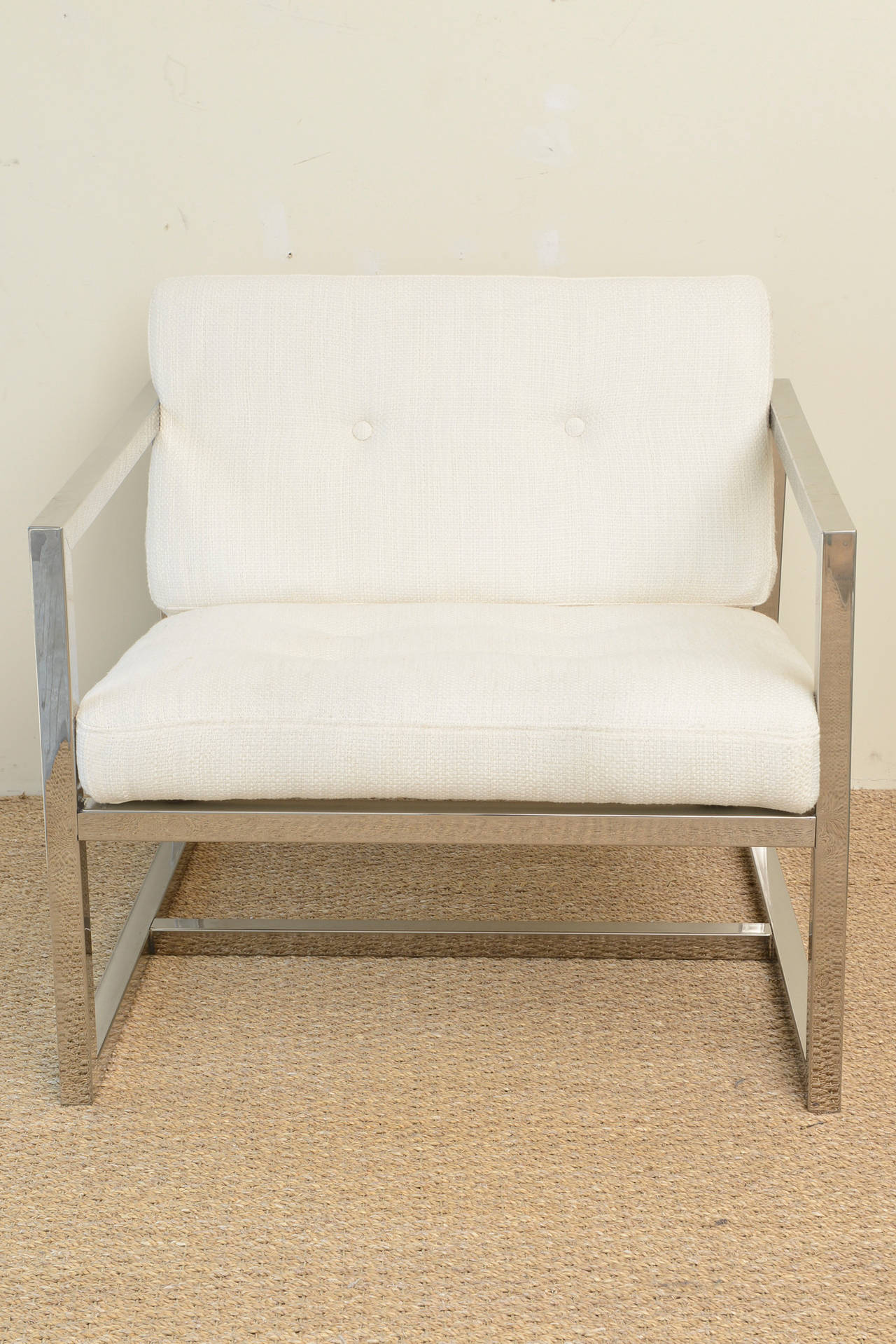 These Milo Baughman Style Box Frame Pair Of Lounge Chairs With New White  Cotton/linen