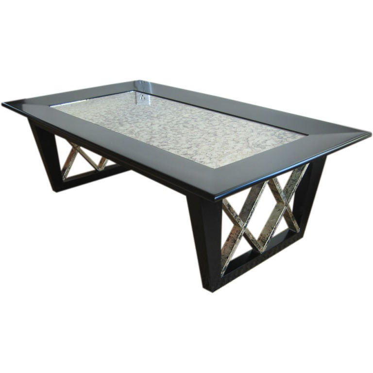 Black Satin X Frame Cocktail Table With Eglomise Mirrored