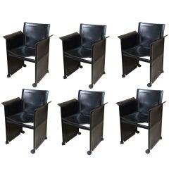 "Set of 6 Italian Matteo Grassi ""Korium"" Black Leather Dining Chairs"