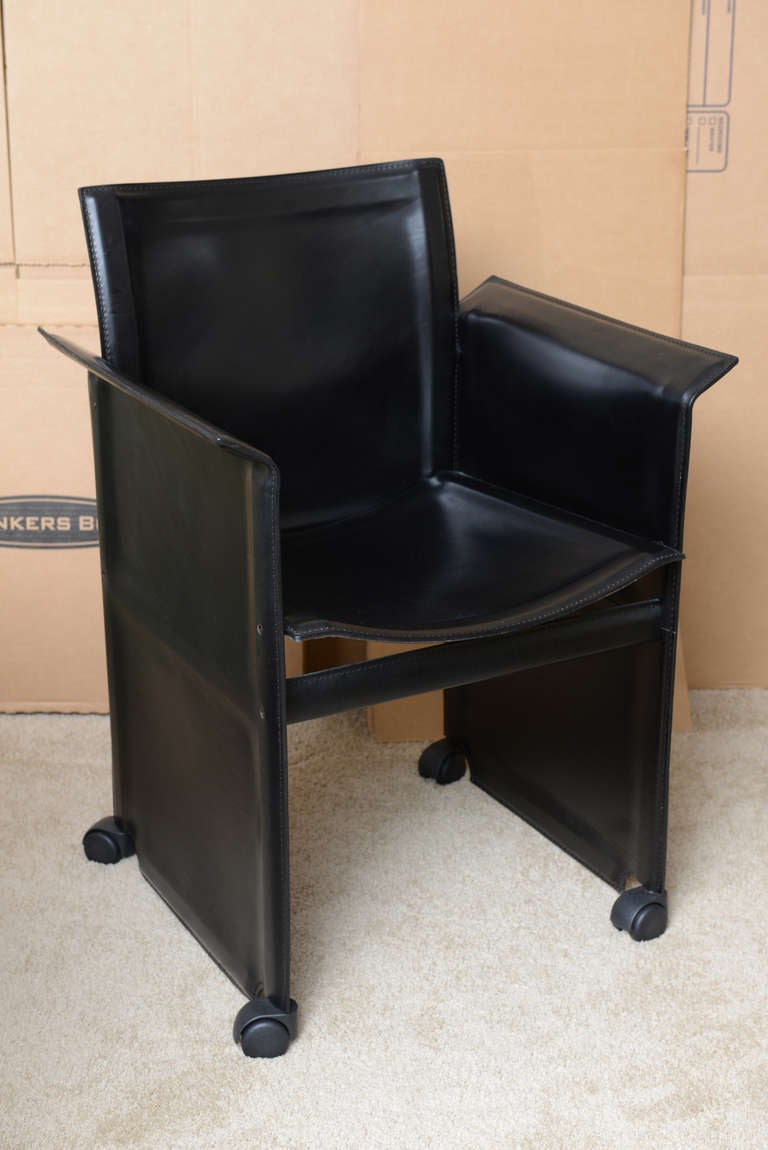 These Absolutely Mint Conditioned And Extremely Comfortable Italian Black  Leather Dining Chairs All With Arms Are