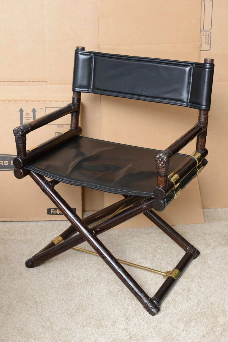 Beau These Great And Comfortable Rattan Wood, Black Leather And Polished Solid  Brass Campaign Directors Chairs