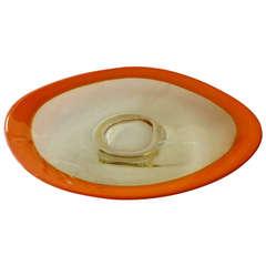 Monumental Italian Murano Seguso Glass Oval Hermes Orange Platter/Centerpiece