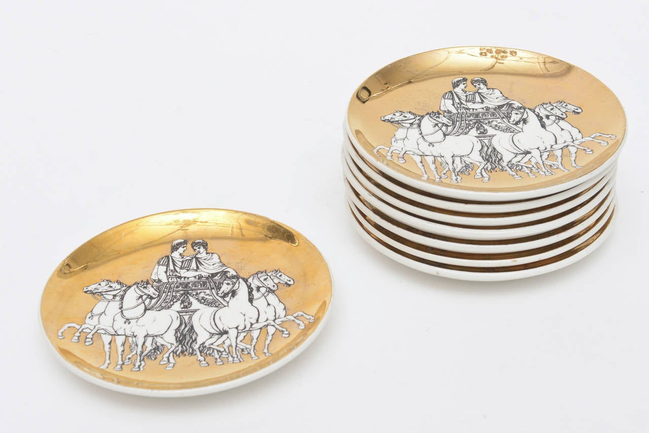 Gold Set of Eight Italian Fornasetti Gilded Porcelain Roman Chariot Coasters For Sale