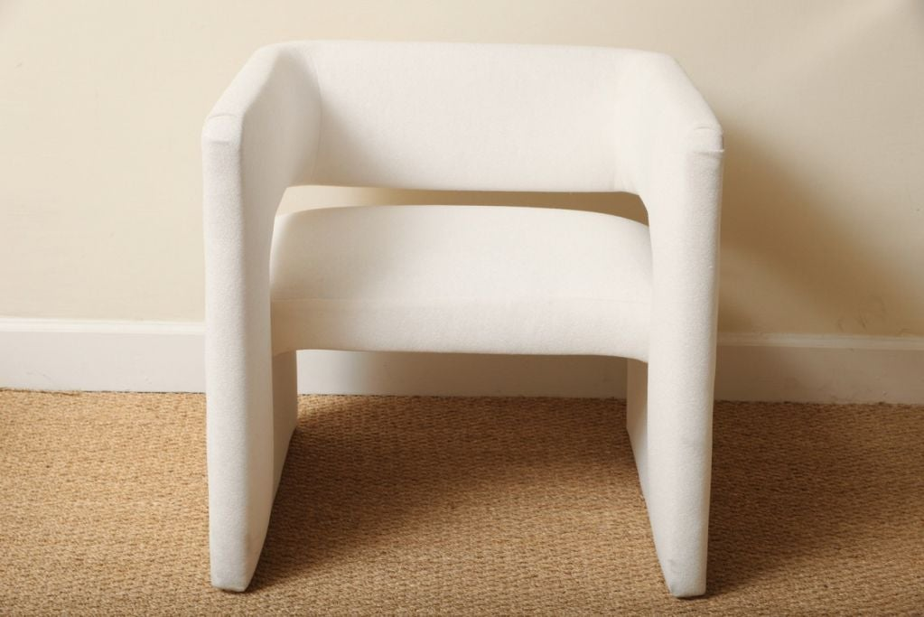 Pair of sculptural and comfortable arm chairs at 1stdibs