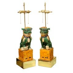Beautiful Glazed Ceramic Foo Dog Lamps