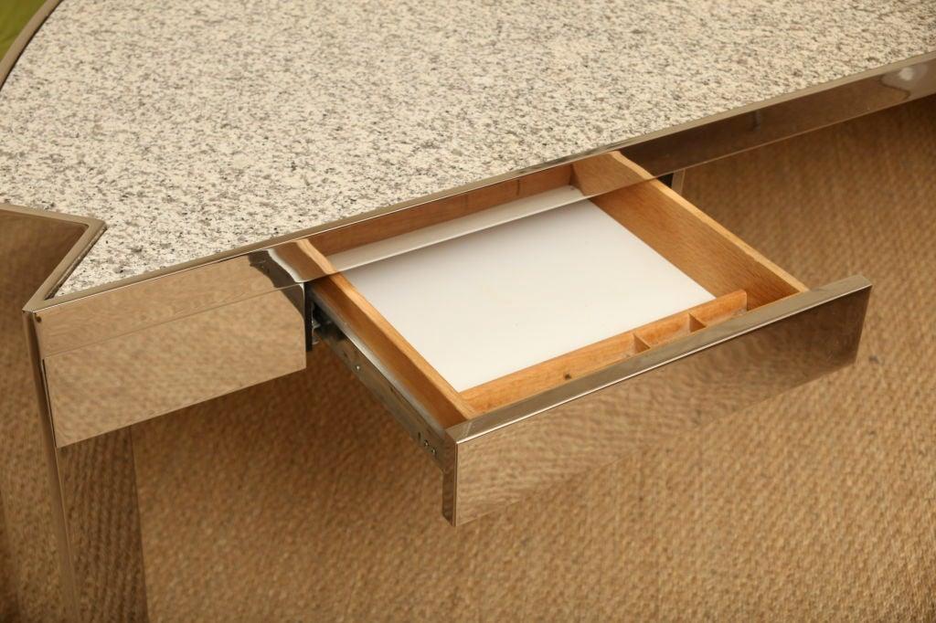 Modernist Pace Polished Steel Mezzaluna Desk At 1stdibs