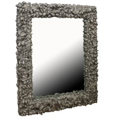 Custom Steel/Cement One of a Kind Shell Sculptural Mirror