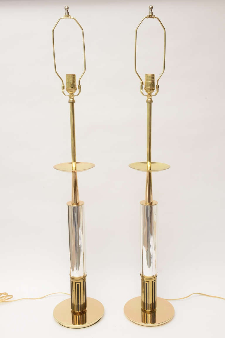 Pair of Polished Brass and Silver-Plate Parzinger Style Lamps 2