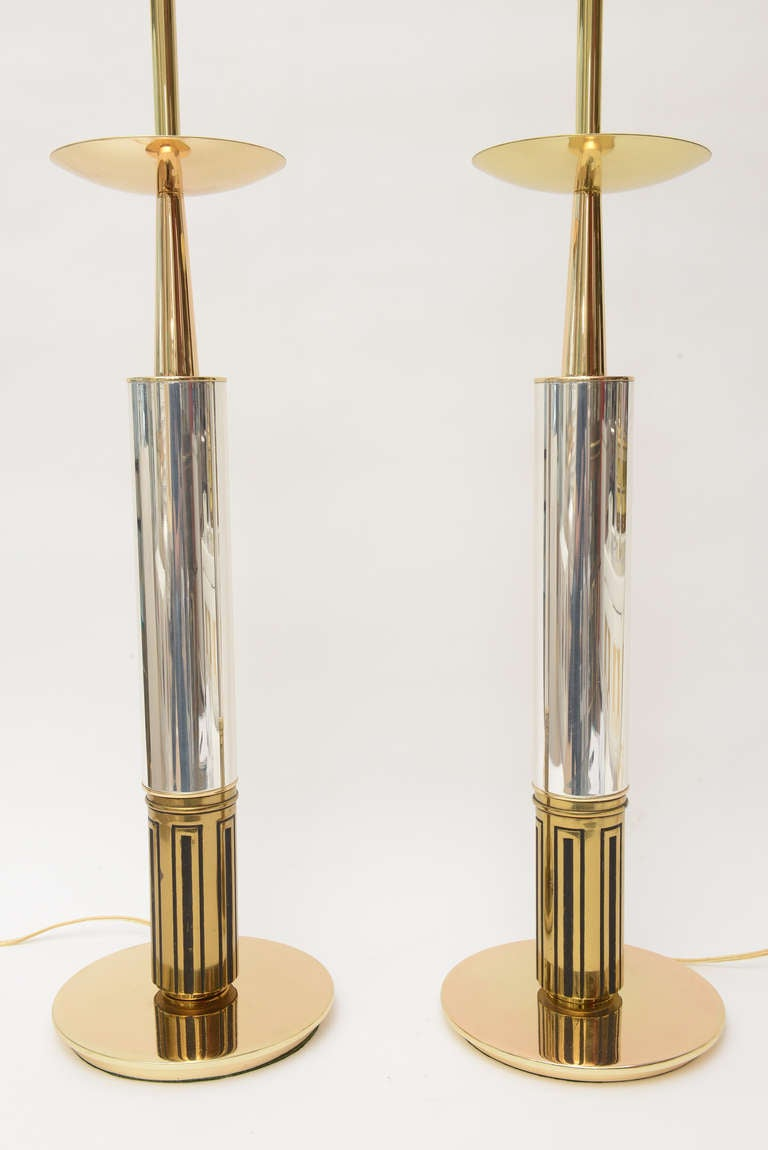 Pair of Polished Brass and Silver-Plate Parzinger Style Lamps 5