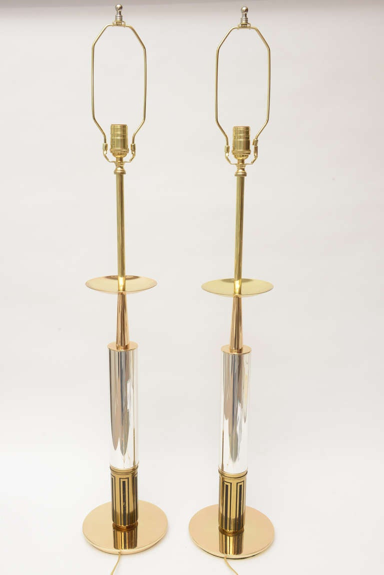 Pair of Polished Brass and Silver-Plate Parzinger Style Lamps 9