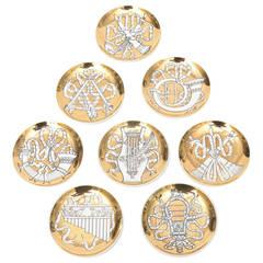 "Set of Eight Vintage Fornasetti ""Musicalia"" Gilded Porcelain Coasters"