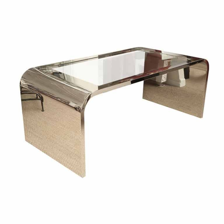 Sensational Steel Pace Waterfall Desk With Glass Insert at