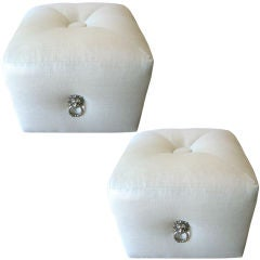 Pair Of  Silver And White Linen Upholstered Poufs/Ottomans