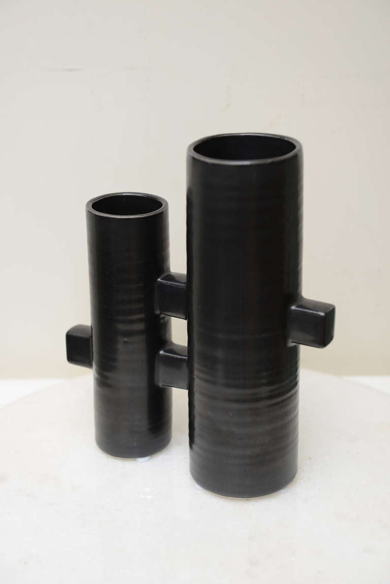 Japanese 2 Cylinder Signed Black Ceramic Architectural