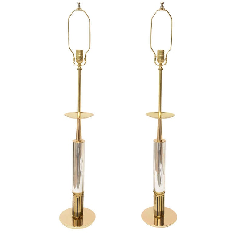 Pair of Polished Brass and Silver-Plate Parzinger Style Lamps 1