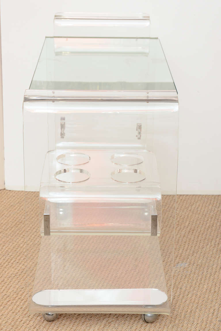 Lion in Frost 3 Tiered Rolled Lucite/Glass  Bar Cart /SATURDAY SALE In Good Condition In North Miami, FL