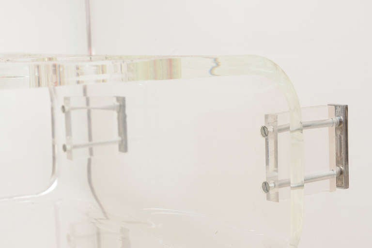 Lion in Frost 3 Tiered Rolled Lucite/Glass  Bar Cart /SATURDAY SALE 4
