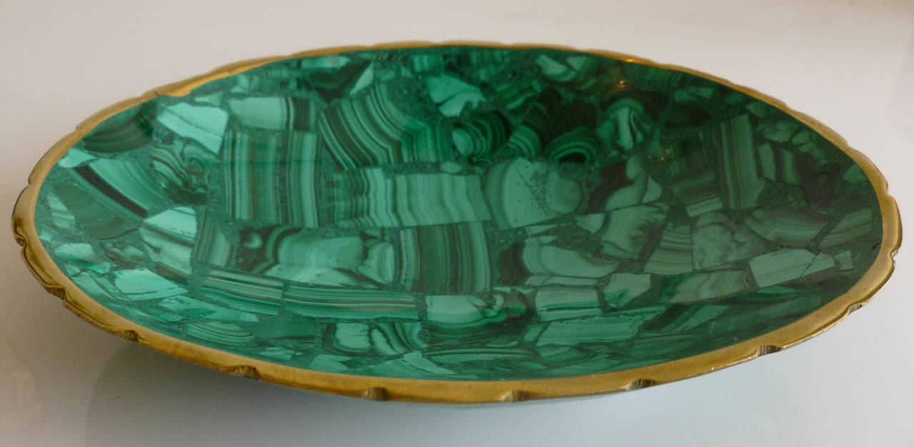 Malachite And Brass Small Bowl Or Dish At 1stdibs