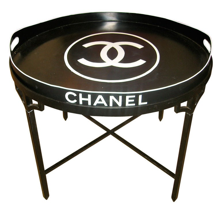 Fabulous And Chic Chanel Tole Tray Table At 1stdibs