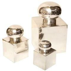 Fabulous And Sculptural Silver Plate Lidded Box Set