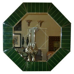 Sensational Green Lacquered Octagon Mirror By Karl Springer