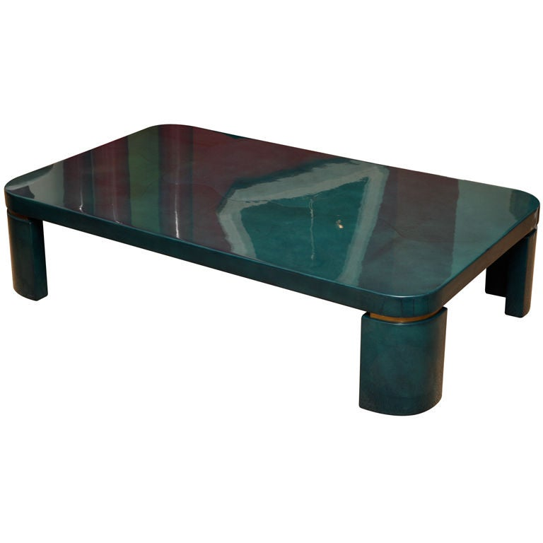 Luscious Turquoise Goat Skin Cocktail Table At 1stdibs