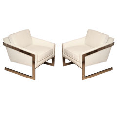 Fabulous Pair of Sculptural Polished Chrome Lounge Chairs